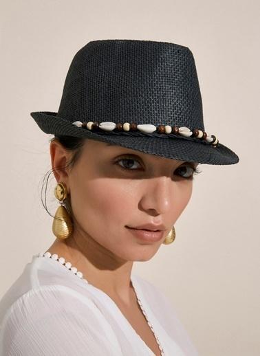 Morhipo Beach Deniz Kabuğu Şeritli Bej Hasır Şapka Siyah